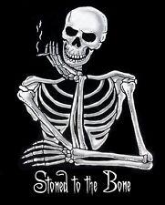 STONED TO THE BONE MARIJUANA POT JOINT STONER SKULL SKELETON T-SHIRT