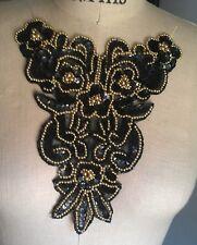 "9"" FANCY Bead & Iridescent Sequin Applique - BLACK & GOLD"