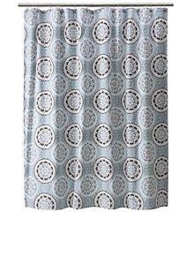 Threshold Blue/Brown Medallion Pattern Shower Curtain 72x72