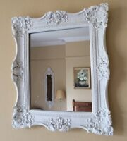 Shabby Chic French Highly Ornate White Rectangular Mirror Bedroom Hall Bath Gift