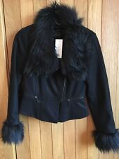 Fab French Connection Black Wool Coat, BNWT, Size 6, RRP £160