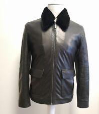 $17.400 Brioni Lambskin Leather Jacket W Removable Mink collar 50EU