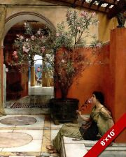 YOUNG ROMAN WOMAN GIRL & OLEANDER TREE PAINTING ROME ART REAL CANVAS PRINT