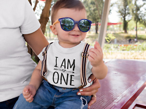 I Am One Kids Tshirt 1st Birthday Childs Age Gift Party Children One Year Old