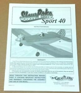 Great Planes Slow Poke Sport 40 Instruction Build Owners Manual Sport Scale NEW