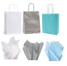 PARTY GIFT BAG / LOOT BAGS - FROZEN WHITE - SILVER - LIGHT BLUE & TISSUE PAPER