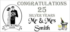 2 PERSONALISED 25th Silver Wedding Anniversary Banners Party Decorations 001