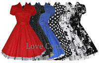 Ladies 40's 50's Vintage Style Rockabilly Shirt Style Swing Jive Dress New 8-26