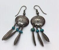 Vintage Sterling Silver Earrings 925 Drop Dangle Concho Faux Turquoise Southwest