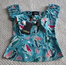 Collectif Mermaid Dolores Top Retro Glamour Gypsy Peasant 50s Size M Rare