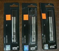 Montblanc Refills 107881, Rollerball, Fine Point, Mystery Black, 3 - Packs of 2