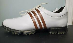 Adidas Tour 360 LTD Fit Foam Men Sz 13 White Brown Leather Golf Shoes Clean!