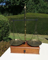Decorative Antique Set of Brass Avery Scales on Box with Wooden Drawer