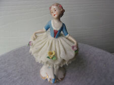 Antique Dresden Lace Porcelain Girl, German Figurine