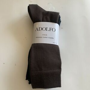 Adolfo 4 Pack Men Dress Socks 2 Blue 1 Dark Gray 1 Brown Size 6-1/2 - 12  New