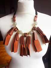 Bohemian Boho Chic Hippy Gypsy Burning Man Faux Brown Suede Leather Necklace