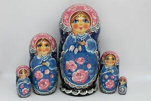 "Nesting dolls Matryoshka 7""tall, 5 in 1 Russian girl Russian dolls"