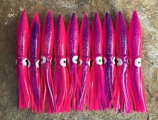 """LOT OF 10 COT SHELL BULB SQUID 6"""" OFFSHORE FOR DAISY CHAINS - PINK/DOTS"""