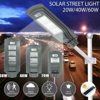 20W/40/60W LED Wall Street Light Solar Power PIR Motion Outdoor Lamp Garden Path