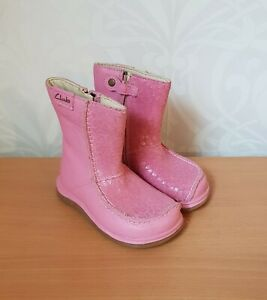 Clarks SNUGGLE UP FST toddler pink leather winter boots