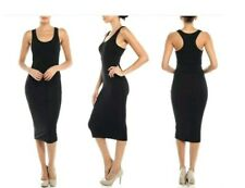Women JUNIOR's Sleeveless Scoop Neck Racerback Tank Bodycon Pencil Midi Dress
