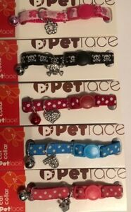 Personalised Cat Collar (polka dot / skull / flower) With Charm (Safety Collar)