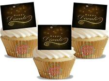 NOVELTY HAPPY DIWALI (SPARKLE) 12 STAND UP Edible Image Cake Toppers