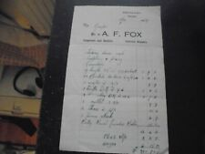 1949 Truro, Goonhavern, A F Fox, Carpenter and Builder, Billhead