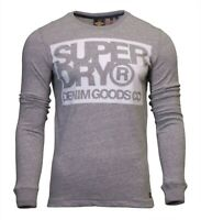 Superdry Mens Denim Goods Co Long Sleeve Crew Neck Print T-Shirt Top Grey Grit