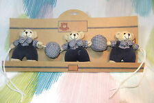 Children Soft Plush 3 Hanging Bears with a soft Rattle! Cot Pram Decor!