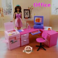 Barbie Doll, Doll House Furniture Doll Accessories DIY Office Computer Desk