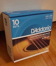 D'Addario EJ16-10P Phos. Bronze Acoustic Guitar Strings. (10 sets) Gauge:12-53