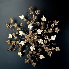 Plafoniera soffitto lampada classico ferro battuto cristalli foglie strass oro