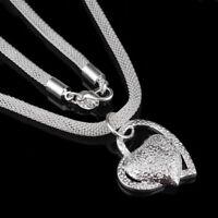 Herz Anhänger Metalllegierung Silber Farbe Halskette Schmuck Frauen Schmuck