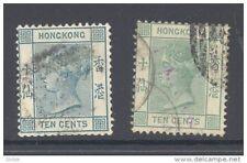 HONG KONG, 1882 10c deep blue-green + green (SG37+37a, cat £40) (D)