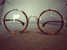 Tortise-Shell Patten Round Oversized Metal Frame Vintage Fashion Glasses