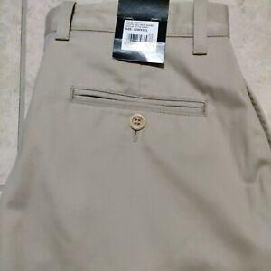 NWT Kenneth Roberts Platinum men's size 32 x 32 tan pants zip straight 4 pockets