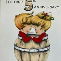 Vintage Mid Century Greeting Card Cute Blonde Couple In Wood Barrel Flocked