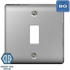 BG Nexus Metal Brushed Steel Satin Chrome 1 Gang Metal Front Cover Plate GNBS1