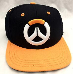 Overwatch Logo Black Orange Flat Brim Snapback Hat Adjustable Blizzard Cap - NWT