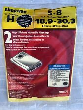 New Listingnew Shop Vac Type H Vacuum Filter Bag 5 8 Gallon Fine Filtration 2 Pack 90671