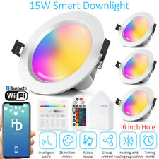 "4pcs 7.28"" 15W Smart RGBWWCW LED Recessed Ceiling Panel Down Lights Lamp Fixture"
