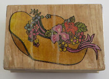 HAT Flowers Rubber Stamp Woman's Iris Lily DIY Crafts Ribbon Wood Mounted