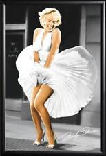 Marilyn Monroe Poster Iconoic Blowing Dress in Premium Black Wood Frame 24x36