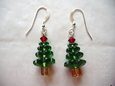CHRISTMAS TREE EARRINGS made with SWAROVSKI CRYSTALS Holiday Jewelry, Free Ship