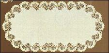 """OVALE CREMA / ORO SCURO, pizzo TAVOLA RUNNER (60 x 120 cm) (24 """"X 47""""), REGALO PERFETTO"""