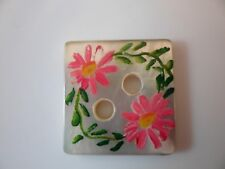 """( vintage) square 1"""" by 1"""" hand painted mop button (flower motiff)"""