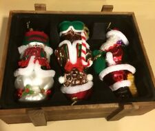 Set Of 3 Thomas Pacconi Large Glass Christmas Ornaments In Wood Crate