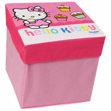 OFFICIAL HELLO KITTY PINK CUPCAKES FOLDABLE TOY STORAGE BOX STOOL SEAT CHEST
