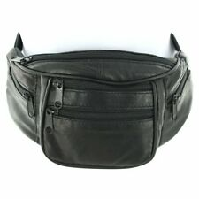 Genuine Leather Silver fever Fanny Pack Waist Bag Phone 6 Pockets Fits All Black